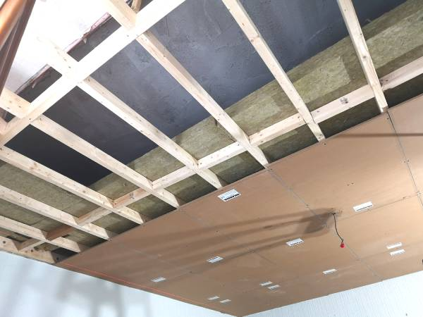 Image of ceiling batons with insulation and soundproof panels